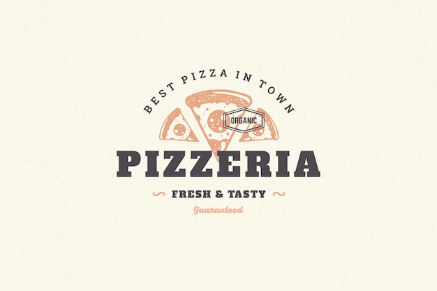 Siluetta disegnata a mano della fetta della pizza di logo e retro illustrazione di vettore di stile di tipografia d'annata moderna.