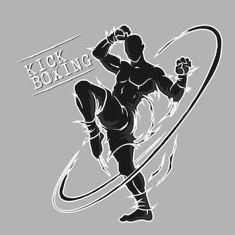Siluetta estrema di arte marziale di kick boxing