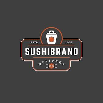 Siluetta giapponese della scatola di tagliatella del modello di logo del negozio di sushi con retro tipografia