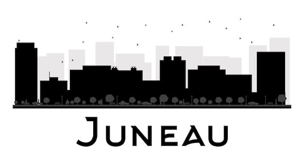 Siluetta in bianco e nero dell'orizzonte di juneau city.