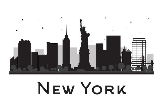 Siluetta in bianco e nero dell'orizzonte di new york city