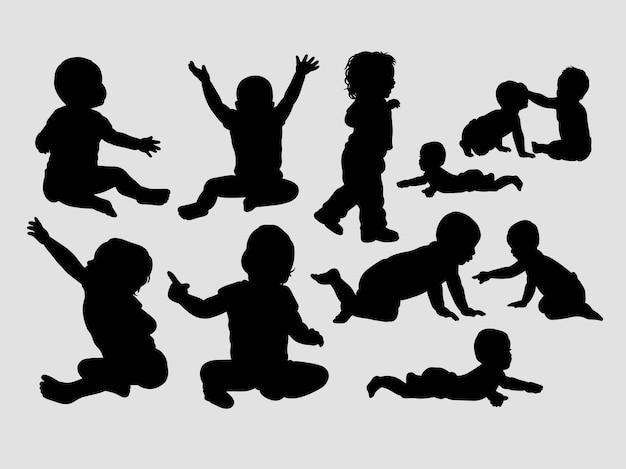 Siluetta maschio e femminile di azione del bambino
