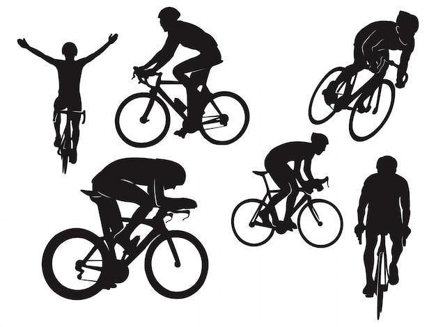 Siluetta nera di celebrazione della bici della bici da corsa di giro in bicicletta del motociclista