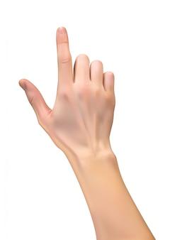 Siluetta realistica 3d della mano con un dito indice che indica spingendo