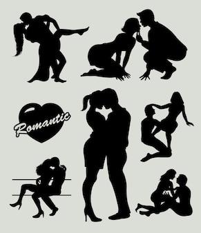 Siluetta romantica delle coppie di amore