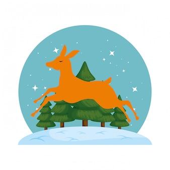 Siluetta sveglia di natale della renna con snowscape
