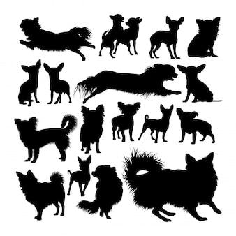 Siluette animali del cane della chihuahua