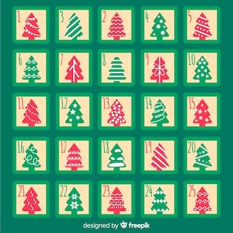 Siluette degli alberi di natale calendario dell'avvento