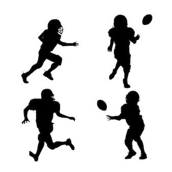 Siluette dei giocatori di football americano con attrezzatura