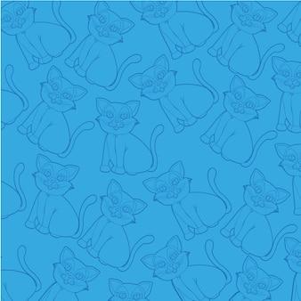 Siluette del gatto della priorità bassa isolate su priorità bassa blu