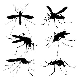 Siluette della zanzara del primo piano isolate. insieme di vettore di macro zanzare volanti