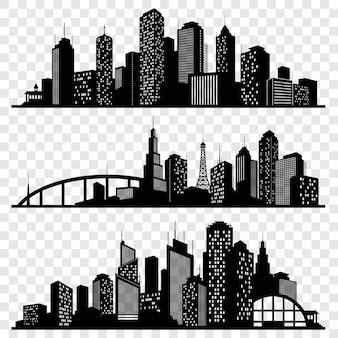 Siluette di vettore della costruzione della città, orizzonti urbani di vettore messi