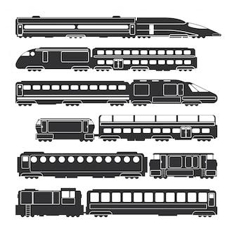 Siluette ferroviarie del trasporto di merci e passeggeri del nero di vettore dei vagoni e dei treni
