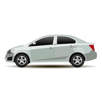 Silver car sedan side view. vettore veicolo piatto