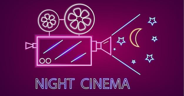 Simboli al neon della fotocamera del cinema