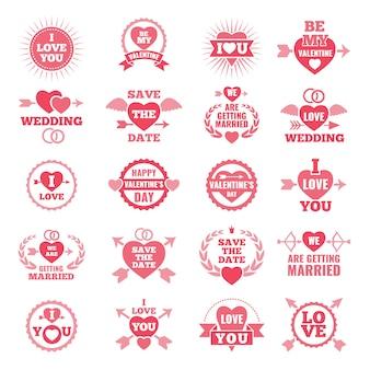 Simboli d'amore per il giorno del matrimonio distintivi monocromatici