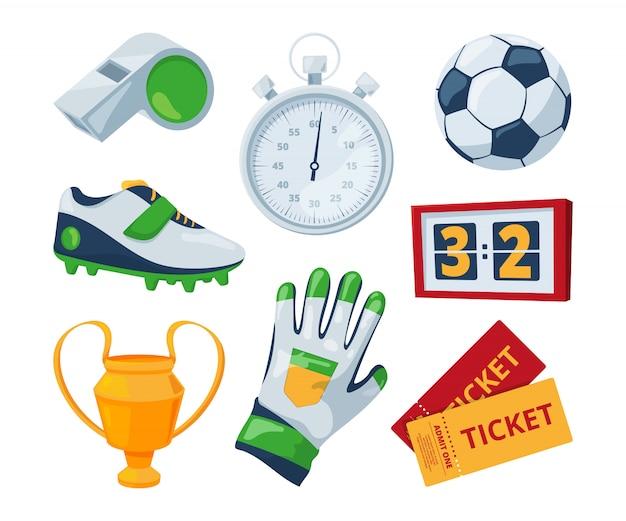 Simboli dei cartoni animati di calcio. illustrazioni sportive vettoriali