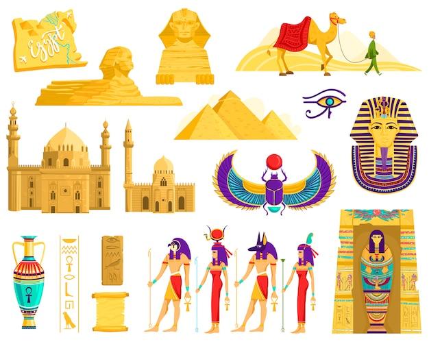 Simboli dei punti di riferimento dell'antico egitto, di architettura e di archeologia su bianco, illustrazione
