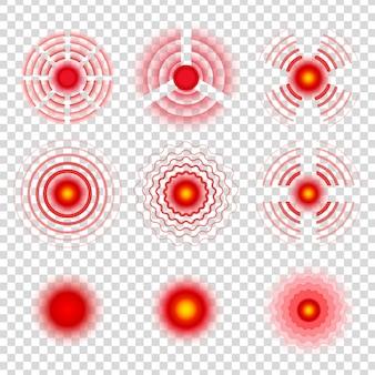 Simboli del cerchio del dolore. painkiller rimedio macchie icone, segni radiali rossi bersaglio doloroso