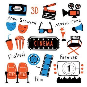 Simboli del cinema con scritte a inchiostro.