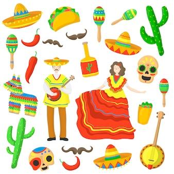 Simboli del messico per le vacanze di carnevale a disposizione disegnati isolato su bianco. cibo messicano.