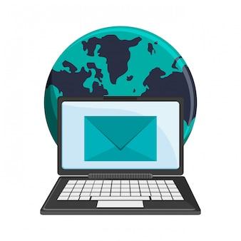 Simboli del mondo del laptop e della posta elettronica