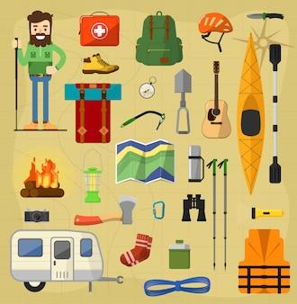 Simboli dell'attrezzatura da campeggio.
