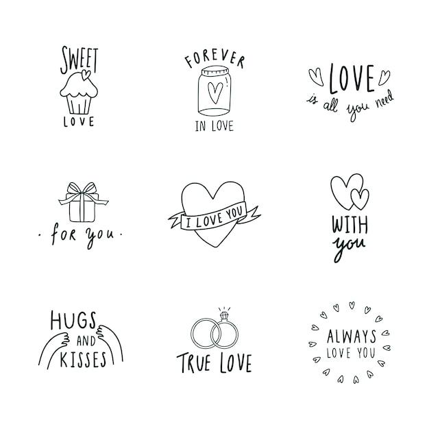 Simboli dell'icona dell'amore vector set