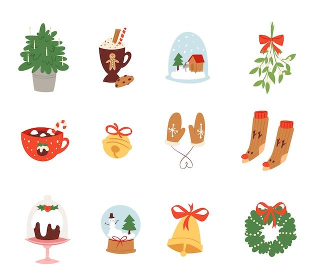 Simboli delle icone di natale per l'illustrazione della decorazione di celebrazione di nuovo anno dei simboli festivi dell'ornamento di natale.