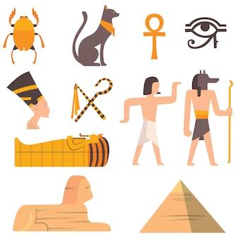 Simboli delle icone di vettore di viaggio egitto