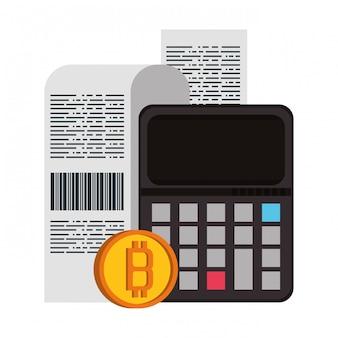 Simboli di denaro digitale di criptovaluta bitcoin