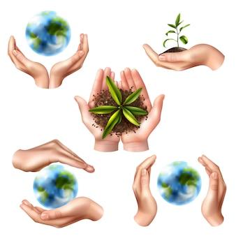 Simboli di ecologia con mani realistiche