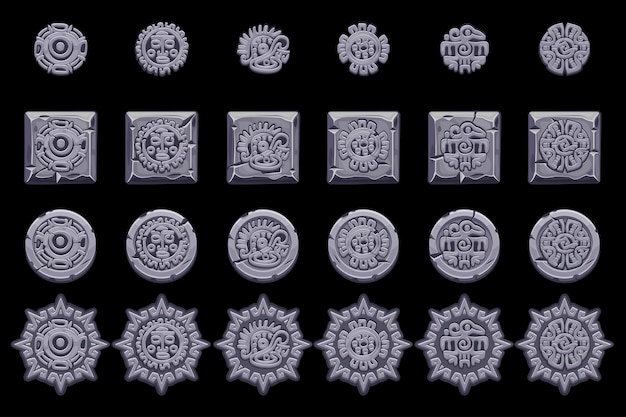Simboli di mitologia messicana antica isolati. totem nativo azteco americano, cultura maya. set di icone.