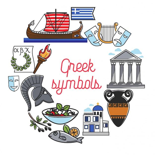 Simboli di monumenti famosi della grecia e icone di punti di riferimento della cultura per poster di viaggio di viaggio greco