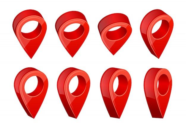 Simboli di navigazione gps. immagini realistiche di vari puntatori della mappa