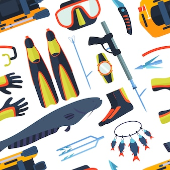Simboli di pesca subacquea marina con canna da pesca