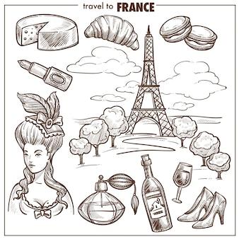 Simboli di schizzo di vettore di limite di viaggio di francia