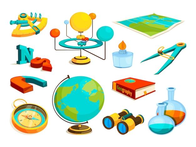 Simboli di scienza e geografia