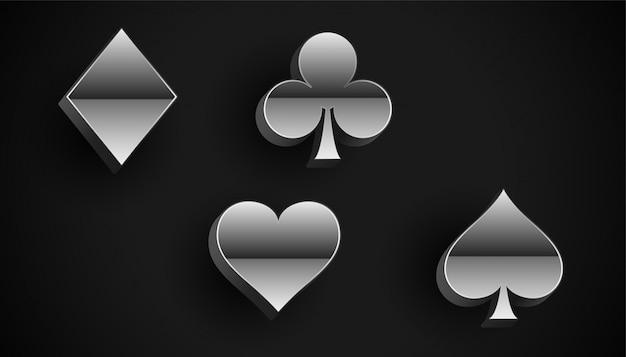 Simboli di semi di carte da gioco in stile metallo argento