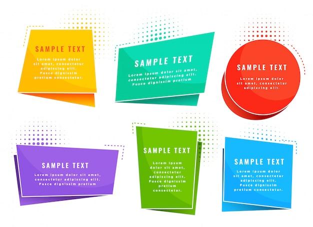 Simboli di tag stile origami colorati