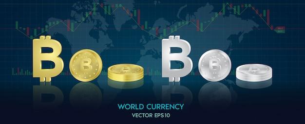 Simboli di valuta del mondo sotto forma di monete d'oro e argento di ogni paese. andamento del mondo della progettazione grafica, borsa.