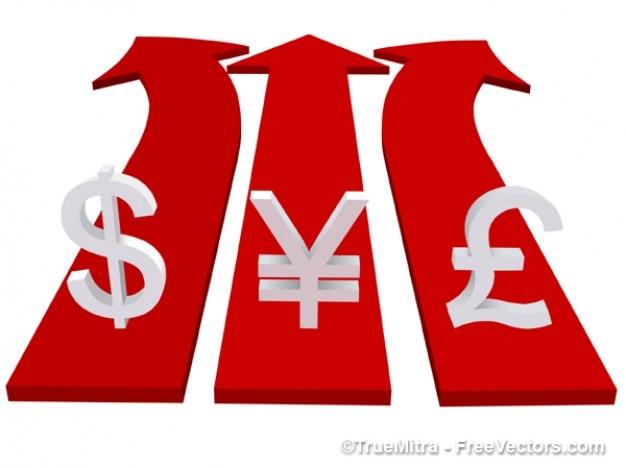 Simboli di valuta sulle frecce d'affari vettore rosso