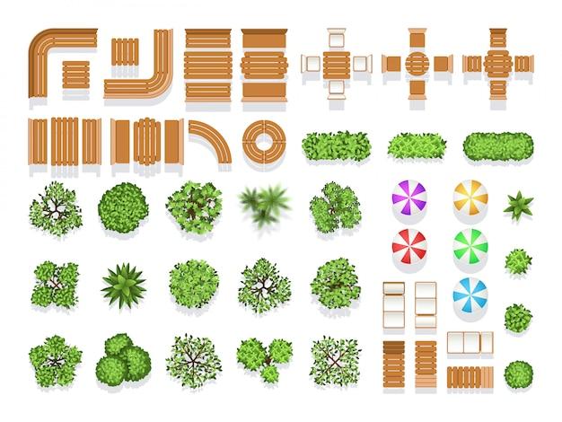 Simboli di vettore di piano del parco della città di architettura di abbellimento di vista superiore, banchi di legno ed alberi