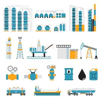 Simboli di vettore di stile piano di industria petrolifera