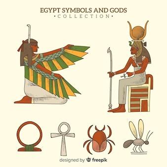 Simboli egizi disegnati a mano e collezione di divinità