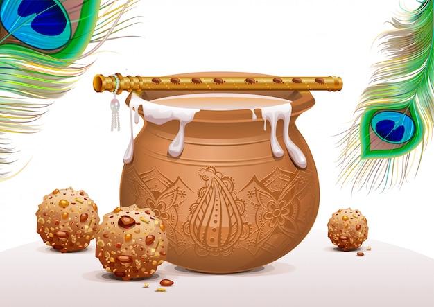 Simboli festivi krishna janmashtami, vasetto di yogurt, piuma di pavone, flauto e dolci