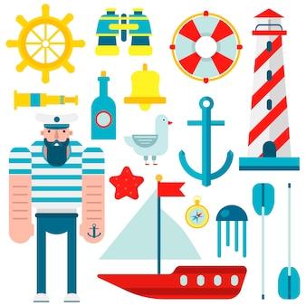 Simboli marini di marinaio nautico e icone piane di vettore