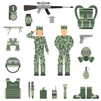 Simboli militari design con arma e uniforme. vettore.