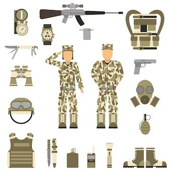 Simboli militari design con arma e uniforme