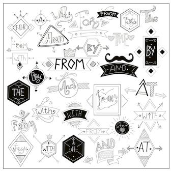 Simboli neri di slogan sulla lavagna